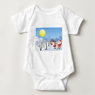 An elf above the house in the snowy land with tree baby bodysuit