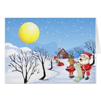 An elf above the house in the snowy land with tree card