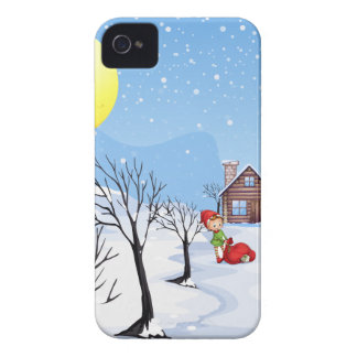 An elf above the house in the snowy land with tree Case-Mate iPhone 4 case
