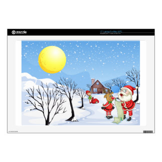 An elf above the house in the snowy land with tree decal for laptop