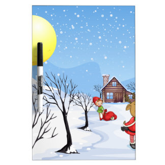 An elf above the house in the snowy land with tree dry erase board