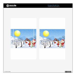 An elf above the house in the snowy land with tree kindle fire decal