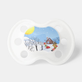 An elf above the house in the snowy land with tree pacifier