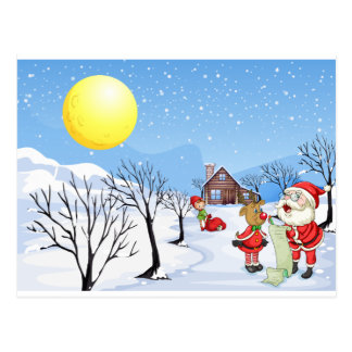 An elf above the house in the snowy land with tree postcard