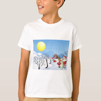 An elf above the house in the snowy land with tree T-Shirt