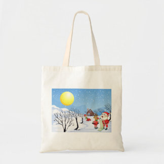 An elf above the house in the snowy land with tree tote bag