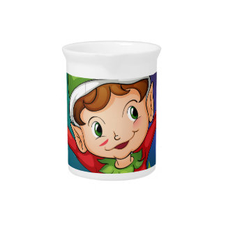An elf at the garden beverage pitchers