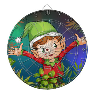 An elf at the garden dartboard with darts