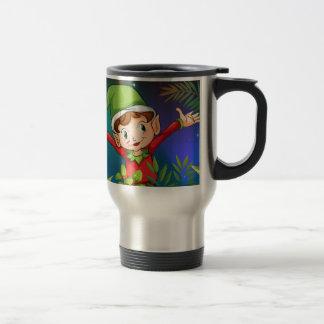 An elf at the garden travel mug