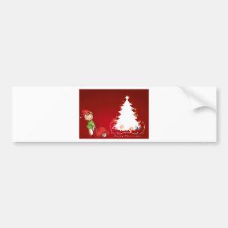 An elf beside the christmas tree bumper sticker