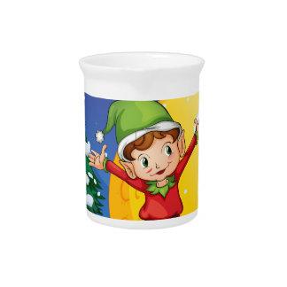 An elf enjoying the snow beverage pitchers