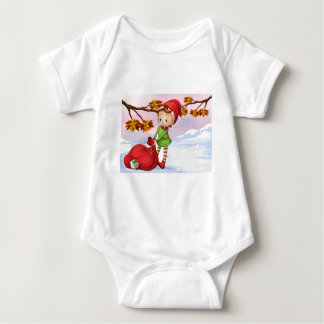 An elf holding a bag of gifts baby bodysuit