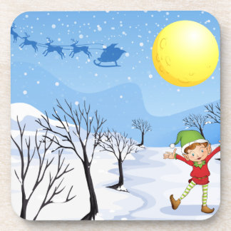 An elf in a snowy place drink coaster