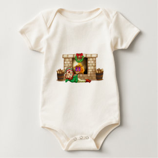 An elf in front of the fireplace baby bodysuit