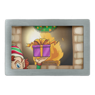 An elf in front of the fireplace belt buckle