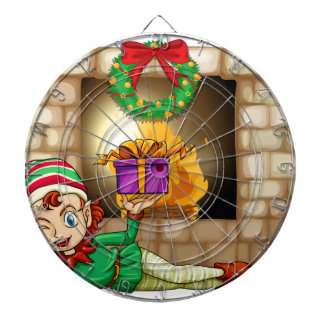 An elf in front of the fireplace dartboard