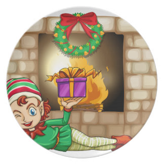 An elf in front of the fireplace dinner plate