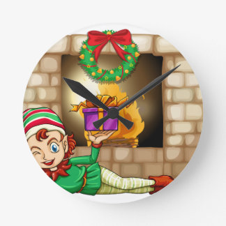 An elf in front of the fireplace round clock