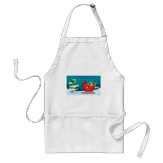 An elf riding on a sleigh with a sack of gifts adult apron