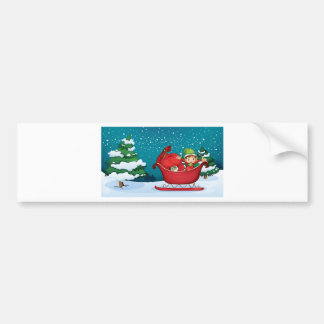 An elf riding on a sleigh with a sack of gifts car bumper sticker