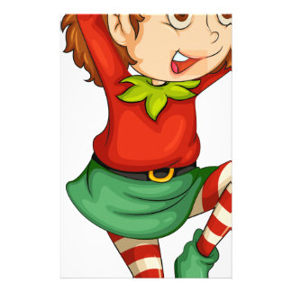 An elf with a gift above his head stationery