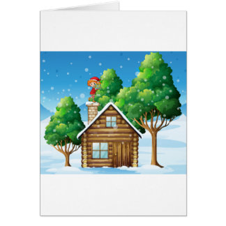 An elf with a gift standing above the house card