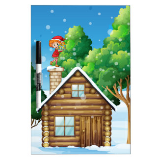 An elf with a gift standing above the house dry erase board