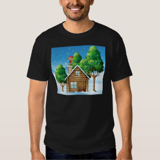 An elf with a gift standing above the house T-Shirt