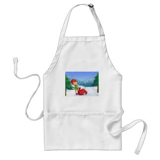 An elf with a red sack full of gifts adult apron
