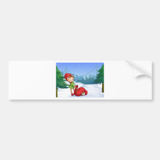 An elf with a red sack full of gifts car bumper sticker