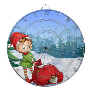 An elf with a red sack full of gifts dartboard