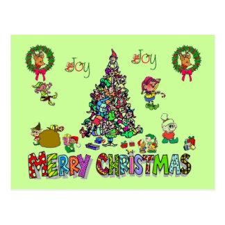 an elves christmas post card