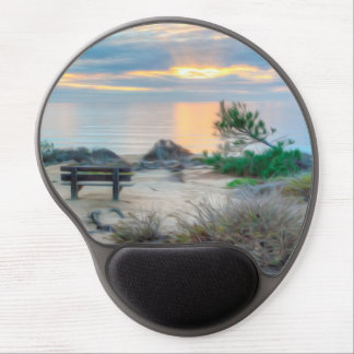 An empty bench at sunrise gel mouse pad