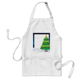 An empty christmas template with a christmas tree adult apron