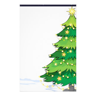 An empty christmas template with a christmas tree stationery