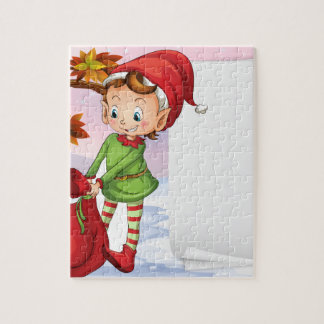An empty paper beside the elf jigsaw puzzle
