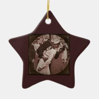 An End of War Kiss Double-Sided Star Ceramic Christmas Ornament