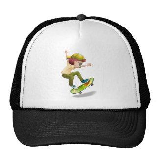 An energetic boy skating trucker hat