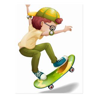 An energetic boy skating postcard