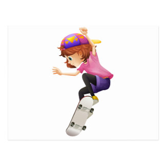 An energetic young lady skating postcard