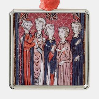 An Engagement, from 'Decrets de Gratien' Square Metal Christmas Ornament