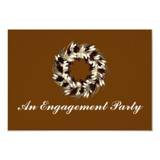 """""""An Engagement Party"""" - Cream/Brown Wreath Card"""