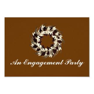 """An Engagement Party"" - Cream/Brown Wreath 3.5"" X 5"" Invitation Card"