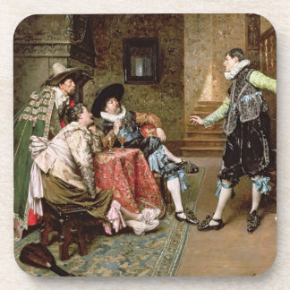 An Engaging Tale 1894 oil on panel Drink Coasters