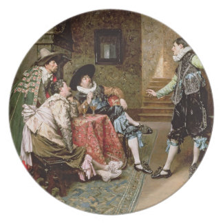 An Engaging Tale 1894 oil on panel Dinner Plates
