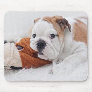 An English Bulldog Puppy Playing With A Bulldog Mouse Pad