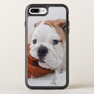 An English Bulldog Puppy Playing With A Bulldog OtterBox Symmetry iPhone 7 Plus Case