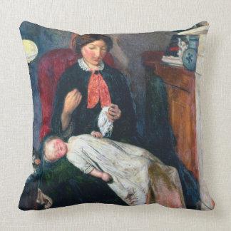 An English Fireside of 1854-5 Throw Pillow