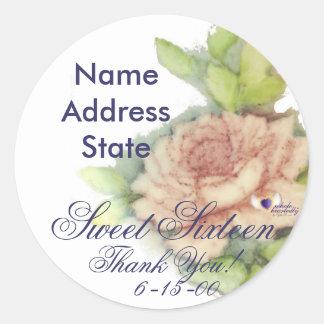 An English Rose Sweet Sixteen Sticker-Cust. Classic Round Sticker