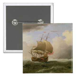 An English Ship Close-hauled in a Strong Breeze Pinback Button